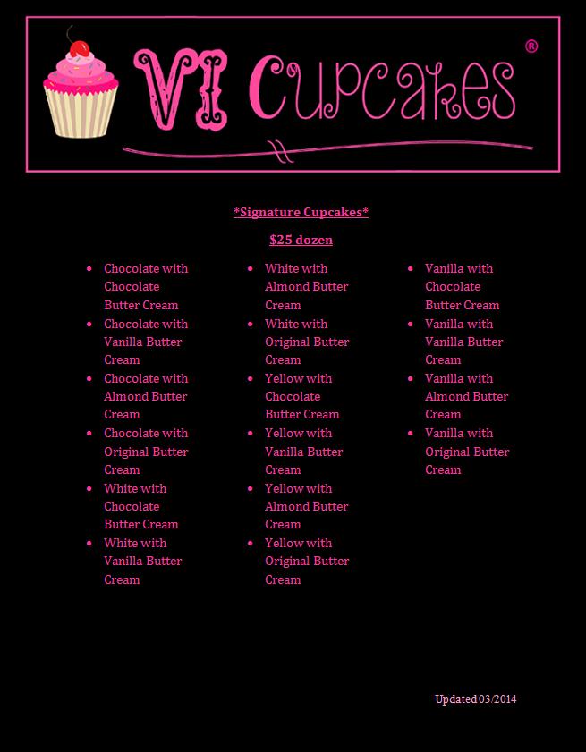 VI Cupcakes Menu 4