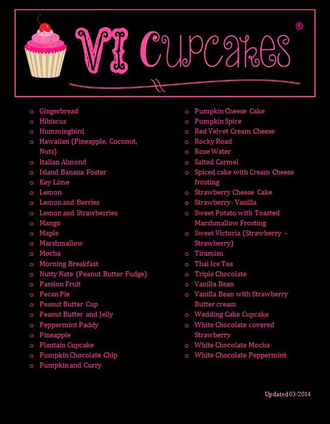 VI Cupcakes Menu 6